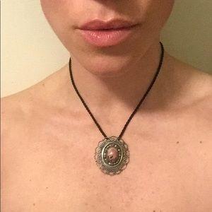 Vintage pink agate pendant/ broach
